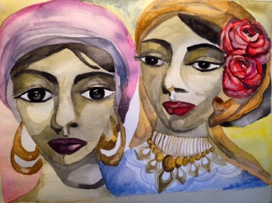 Ladies in Turban ( 14.2 x 18.9 inches)
